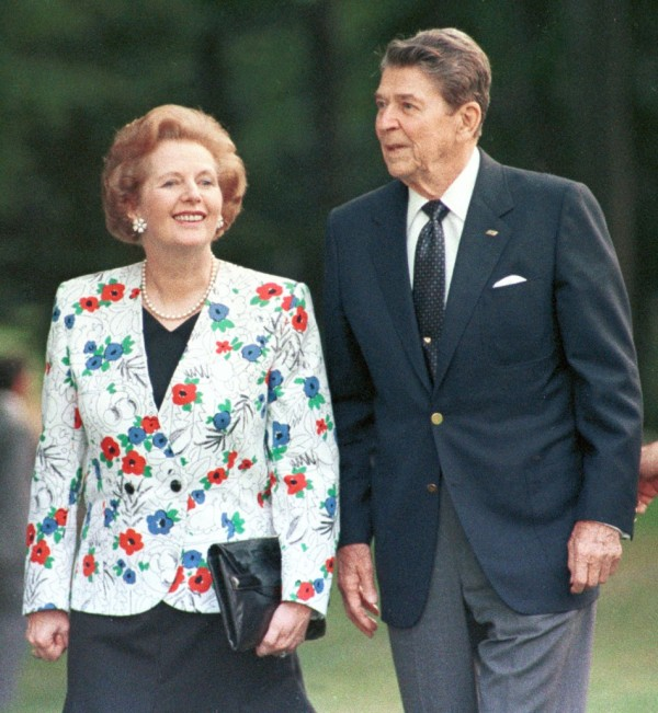 Mrs Thatcher with US president Ronald Reagan.
