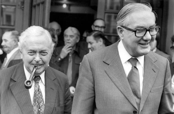 Prime Minister James Callaghan with Harold Wilson