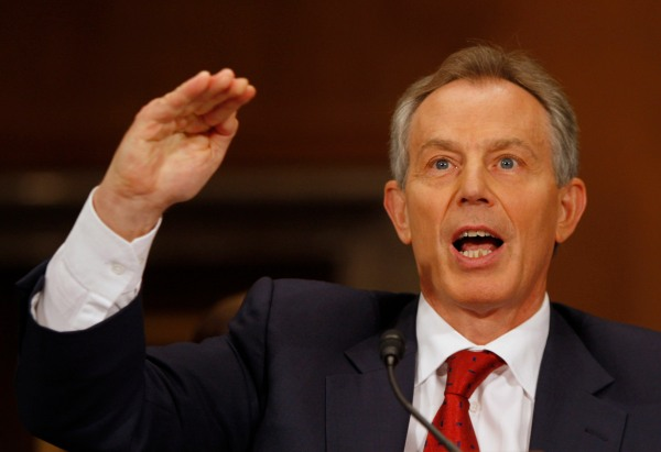 Tony Blair testifies at a U.S. Senate Hearing on Middle East peace in Washington