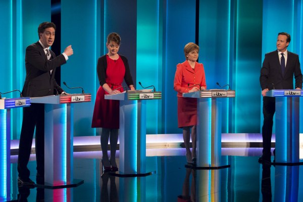 (L-R) Ed Miliband the leader of the Labour Party, Leanne Wood the leader of Plaid Cymru, Nicola Sturgeon the leader of the SNP and David Cameron the leader of the Conservative Party and Britain's current prime minister take part in the leaders televised election debate at Media City in Salford in Northern England, in this April 2, 2015 handout picture provided by ITV.  REUTERS/Ken McKay/ITV/Handout via Reuters