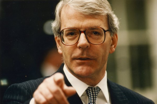 John Major PM talking to journalists in Downing Street before leaving for Waterloo.