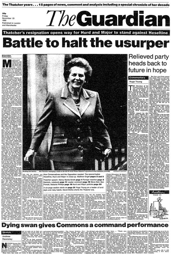 Margaret Thatcher resigns, Guardian front page 23 November 1990