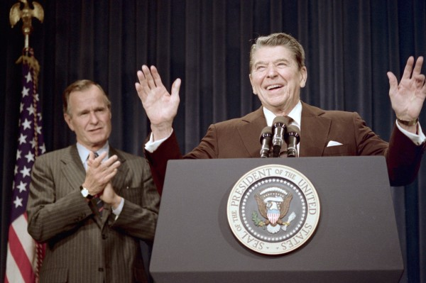 Ronald Reagan with George Bush