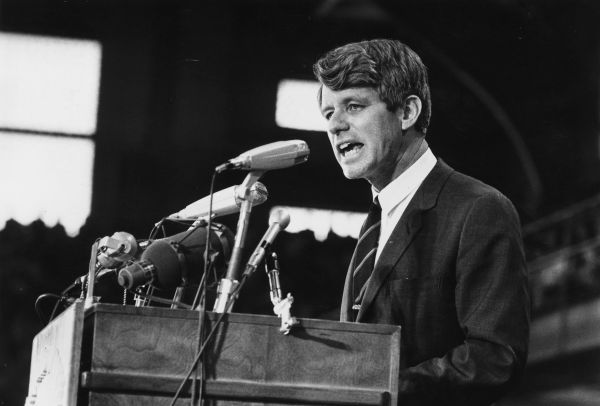 1968:  Senator Robert Kennedy speaking at an election rally.  (Photo by Harry Benson/Express/Getty Images)