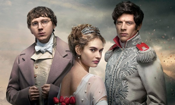 James Morton, Lily James & Paul Dano in War And Peace.
